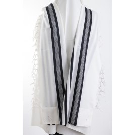 Shaharit Black Striped Lightweight non Slip Wool Elegant Tallit