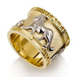 14K Yellow Gold Jerusalem Ring with White Gold Lion of Judea