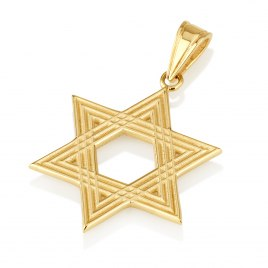 14K Gold Star of David Necklace Decorated with Lines