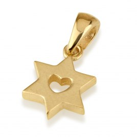 14K Gold Star of David Necklace and Heart in the Center