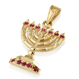 14k Gold and Rubies Menorah Pendant with Flames