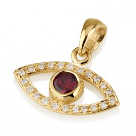14k Gold Evil Eye Pendant with Ruby and Diamonds