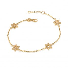 14K Gold and Diamonds Star of David Bracelet