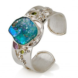 Sterling Silver Cuff Bracelet with Roman Glass and Sapphire