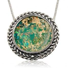 Handmade Roman Glass and Filigree Silver Circle Pendant