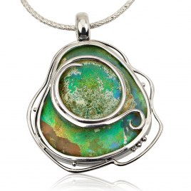Handmade Roman Glass Necklace with Sterling Silver Frame