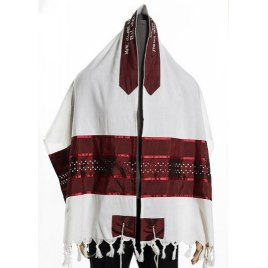 Wool Tallit Prayer Shawl with Bordeaux Stars of David