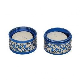 Emanuel Judaica Metal Cutout Of Pomegranates Blue Travel Candlesticks Aluminum Shabbat Candles