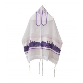 Galilee Silks White Sheer Tallit with Purple Jerusalem