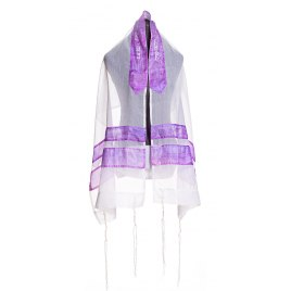 Galilee Silks White Prayer Shawl with Hand Painted Lilac Stripes