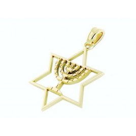 14K Gold Star of David Pendant with Menorah Engraved