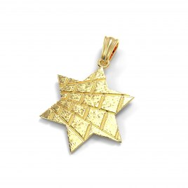14K Gold Star of David Necklace Western Wall Design