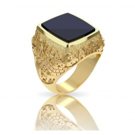 14K Gold and Onyx Jerusalem Jewish Ring