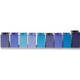Aluminum Hanukkah Menorah Blue Cubes Design, by Yair Emanuel