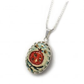 Handmade Silver and Blue Ceramic Pomegranate Necklace with 24k Gold