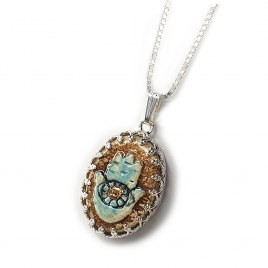 Handmade Silver and Ceramic Blue Hamsa Necklace with 24k Gold