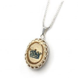 Handmade Silver and Ceramic Good Luck and blessing Necklace with 24K Gold