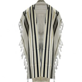 Black and Gold Stripes Tallit Prayer Shawl (42X63 inch)