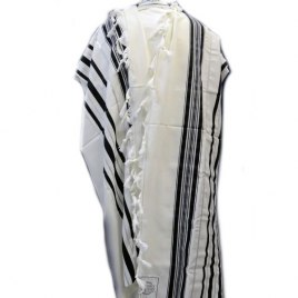Black and Silver Stripes Prima AA Wool, Tallit Prayer Shawl