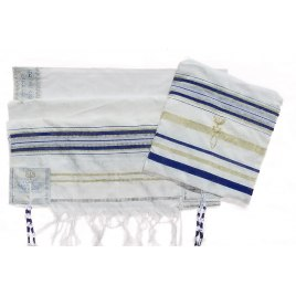 "Blue and Gold Christian Prayer Shawl Eng / Heb Verses (72"" x 33"")"