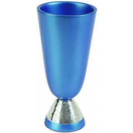 Blue Colored Anodized Aluminum Kiddush Cup Hammer Work