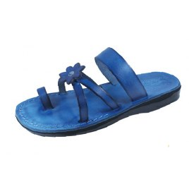 Blue Flower Toe Strap Israeli Handmade Leather Sandals