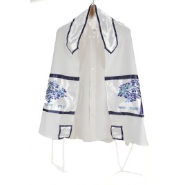 Blue Tree of Life on White Viskosa Tallit
