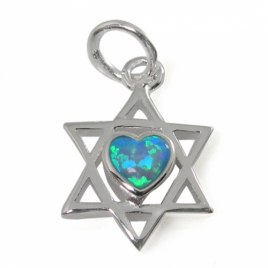 A Classic Star of David Necklace with Heart, Silver & Opal