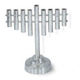 Classic Sterling Silver Hammered Texture Hanukkah Menorah