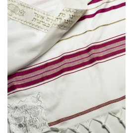 Dark Pink and Gold Stripes Tallit Prayer Shawl (24 x 67 inch)