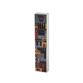 Acrylic Mezuzah Case with Jerusalem Pattern by Dorit Judaica