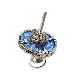 Filigree Hanukkah Dreidel Sterling Silver and Roman Glass