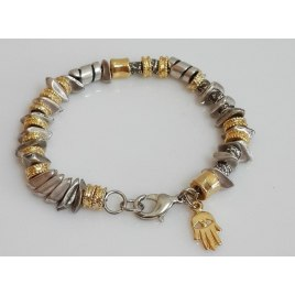 Gold and Silver Bracelet with a Hamsa and Evil Eye Protection