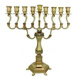 Gold plated Diamond Design Hanukkah Menorah