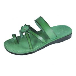 Green Flower Toe Strap Israeli Handmade Leather Sandals