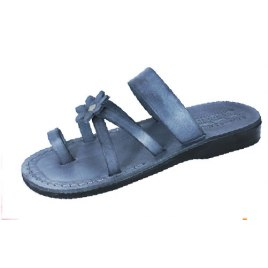 Grey Flower Toe Strap Israeli Handmade Leather Sandals