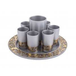 Emanuel Judaica Grey Kiddush Cup Set Pomegranates