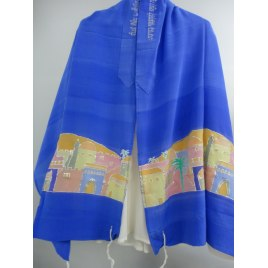 Handpainted Blue Tallit with Jerusalem Skiline Desgn