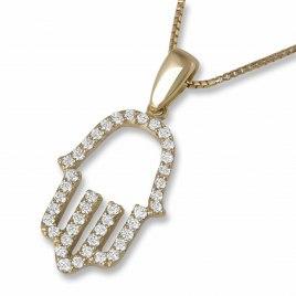 14K Yellow Gold Hamsa Pendant set with Diamonds