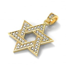 14K Gold & Diamond Interlock Design Star of David Necklace