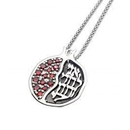 Yoel Jewelry Silver Garnet Ani Ldodi Pomegranate Pendant