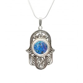 Yoel Jewelry Silver Roman Glass Filigree Hamsa Pendant