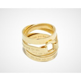 Jewish Ring With 72 Names Of God Gold Plated Design