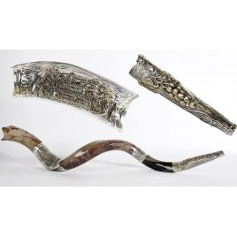 Long Silver Plated Yemenite Shofar Jerusalem and Grapes