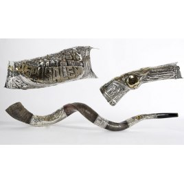 Long Silver Plated Yemenite Shofar Jerusalem and Pomegranates