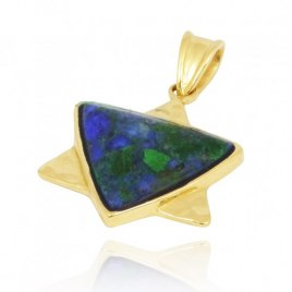 Gold Plated Star of David Necklace with Azurite Malachite