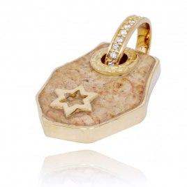 14K Gold Diamonds and Jerusalem Stone Star of David Necklace