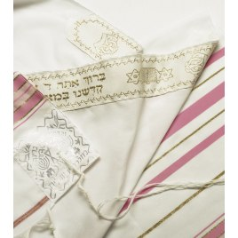 Pink and Goldr Stripes Tallit Prayer Shawl (42X63 inch)