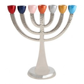 Seven Branch Aluminum Menorah with Colorful Canes
