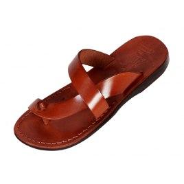 Side Cross L-Toe-Separator Slip-on Leather Biblical Sandals - Reuben